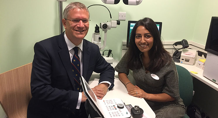 Conservative MP, Andrew Rosindell, at Specsavers Romford