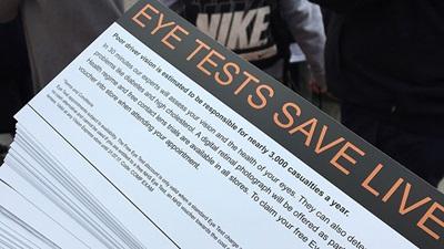 Vision Express Eye Tests Saves Lives campaign