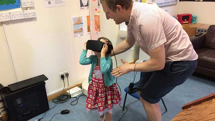 Specsavers virtual reality headset in children's hospital