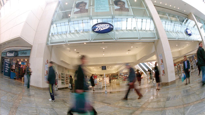 Exterior of a Boots store through a fisheye lens