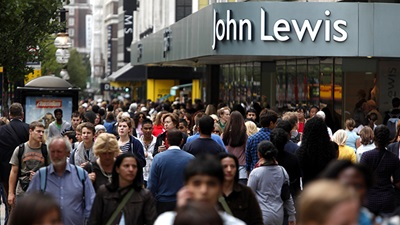 Shoppers outside a John Lewis department store