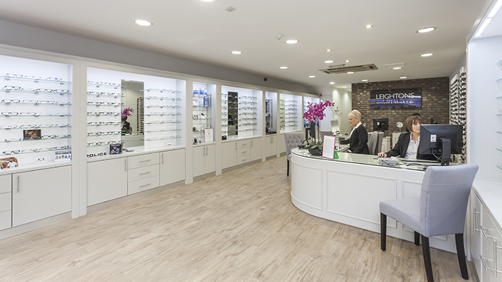 Interior of a Leightons Opticians practice after a refurbishment