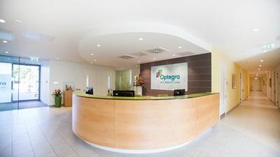 Interior reception area of Optegra Manchester