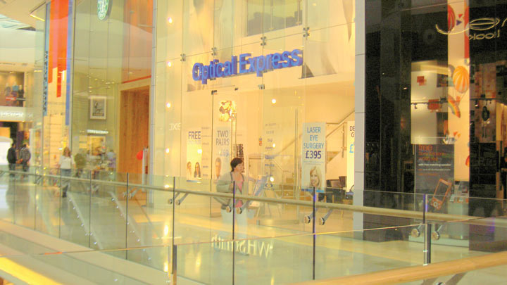 Exterior of Optical Express practice in Westfields shopping centre