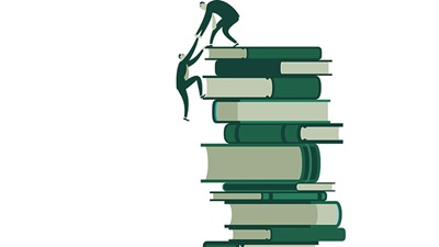 People climbing a pile of books