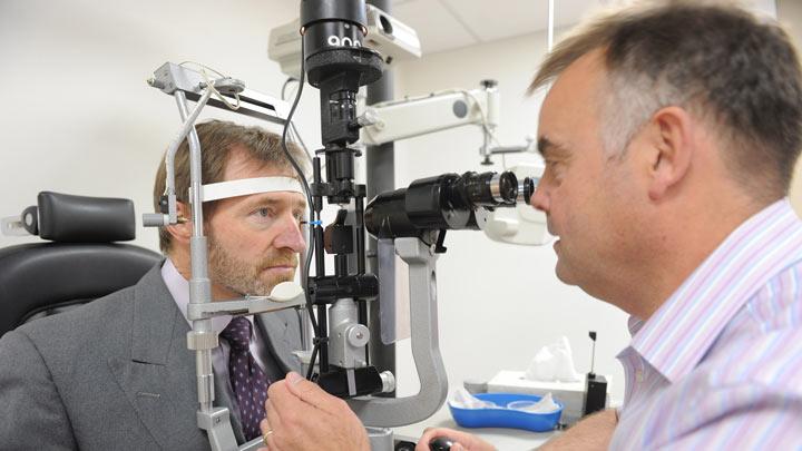 person having an eye test at midland eye