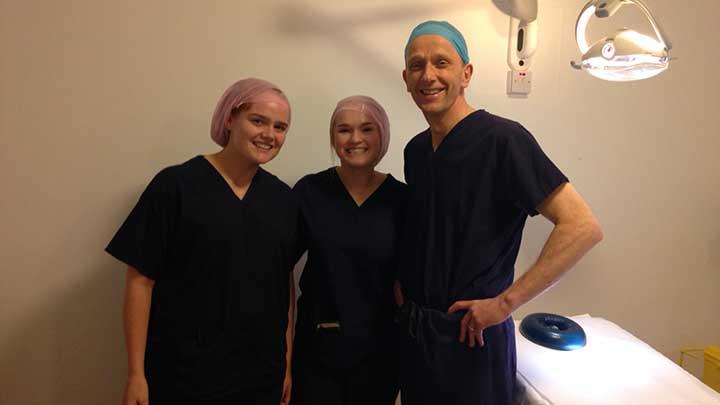 Mr David Kent with staff nurses Niamh Kavanagh and Deidre Grace