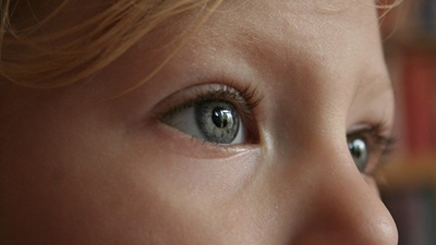 Closeup of a child's eyes