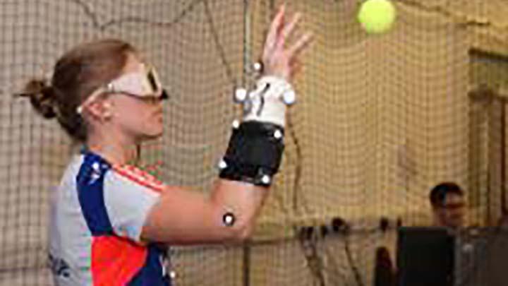 Athlete catches ball