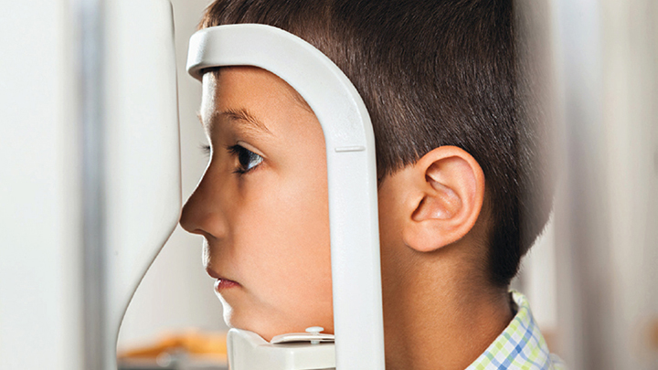 Child during sight test