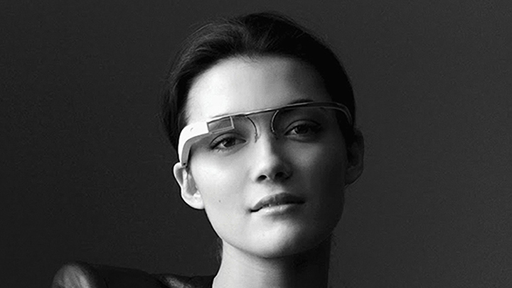 Woman wears smart glasses