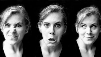 A women displaying different facial expressions