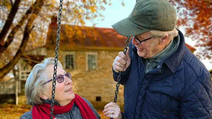 Elderly man and elderly women