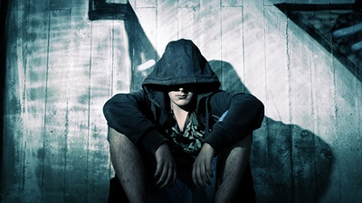 Man with hood up
