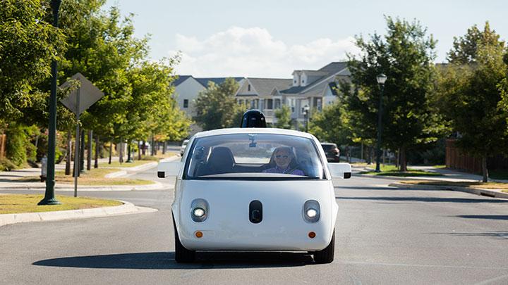 Steve Mahan in a self-driving car