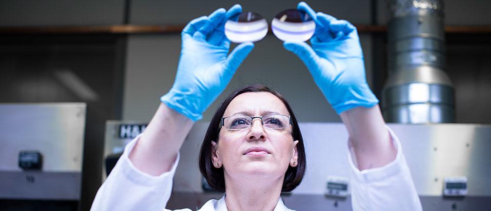 Women checking lenses