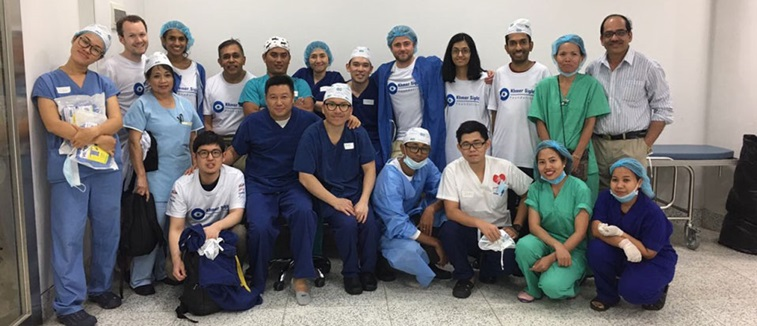 Optometrists and doctors working on the ophthalmic charity mission in Cambodia