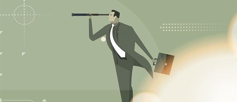 Business man looking through a telescope