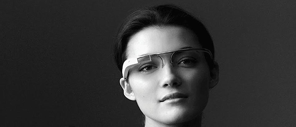 Woman wearing smart glasses