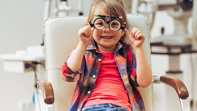 A child having an eye test