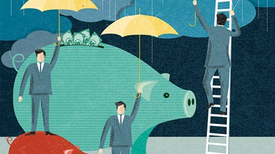 Saving money for a rainy day illustration