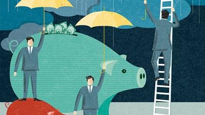 Saving money for a rainy day illustration