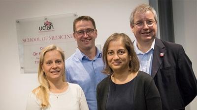 Ms Orr with business development lead for the School of Medicine, Nigel Garratt, Ms Lovell-Patel and Mr Black