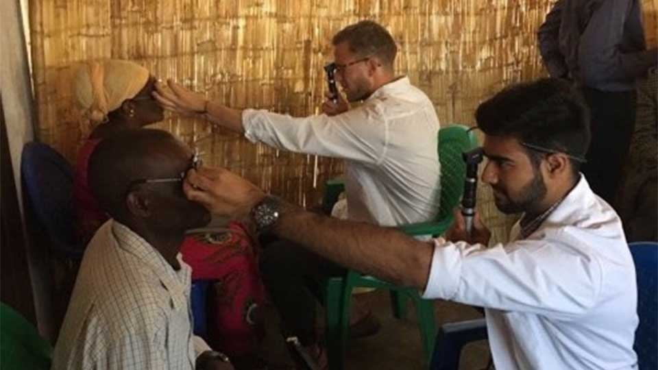 Optometry students providing eye care in Malawi