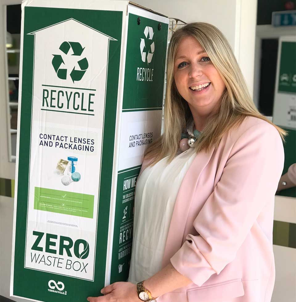Rachel Valli with a contact lens waste recycling box