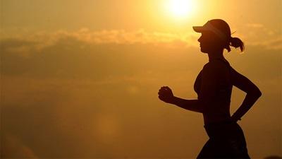 A lady jogging