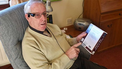 Blind veteran using Orcam MyEye device