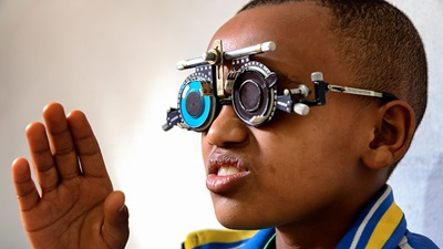 Boy has vision tested