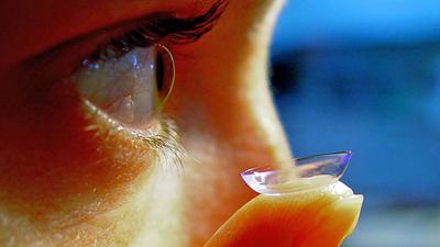Close up of eye with contact lens