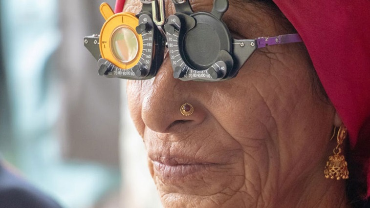 Person with refraction spectacles