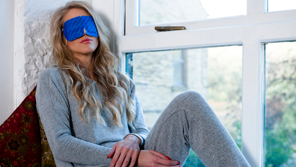 woman wearing biodegradable eye mask