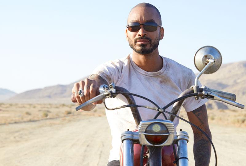 Male on motorbike