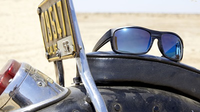 Sunglasses on motorbike