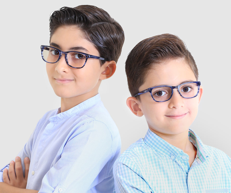 Two boys wearing glasses