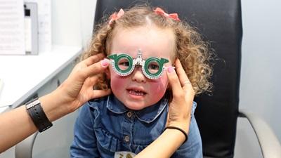 Child having a sight test