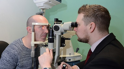 Man having sight test in the Vision Van