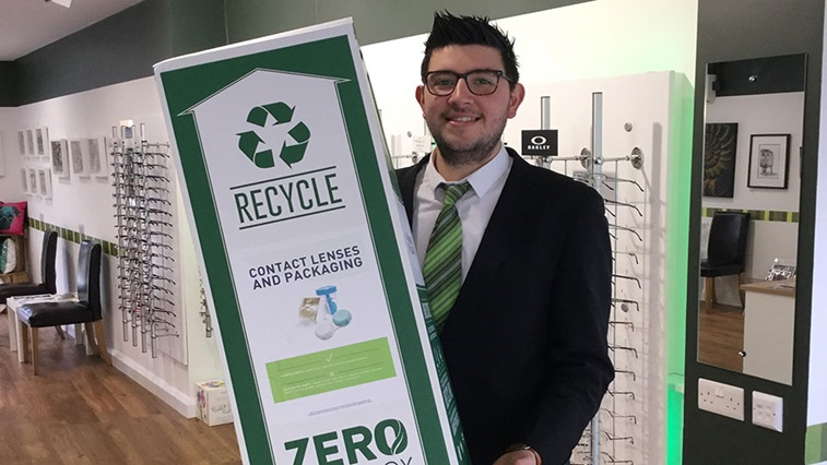 Valli Opticians zero waste recycling boxes