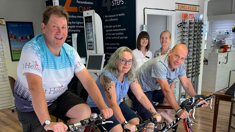 Fundraisers on bicycles