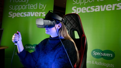 Lady using VR headset