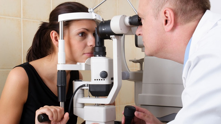 Lady having her sight tested