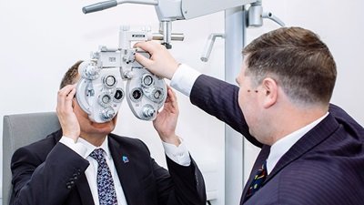 Person has a sight test at Portsmouth eye clinic