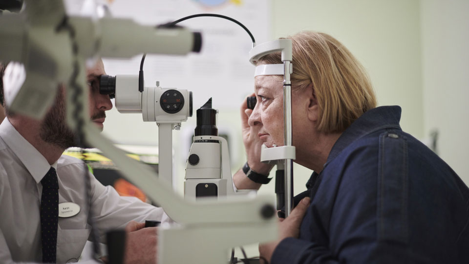 Rosemary Shrager having an eye test