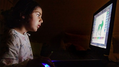 A child using a laptop