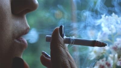 A women smoking