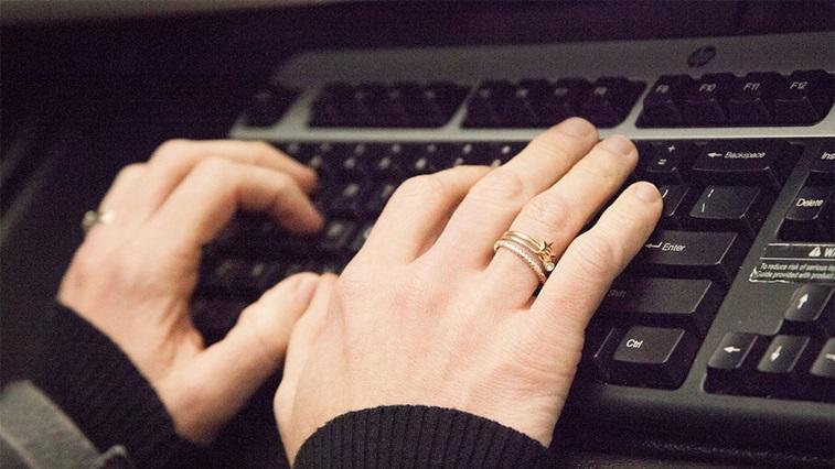 Typing on a key board