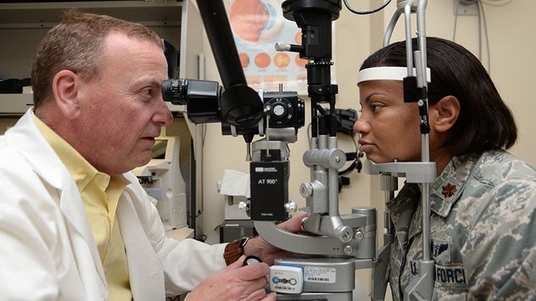 Woman having her sight tested